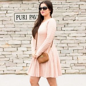CALVIN KLEIN Dusty Pink Cable Knit Sweater Dress